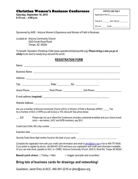 church volunteer info registration card template areas work skills christian womens business conference registration form