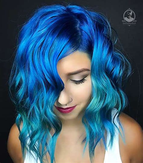 Blue Hairstyles by 2018 Blue Hair Color Hairstyles For Pretty