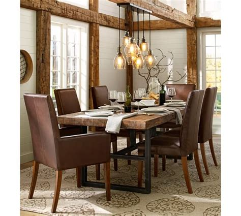 pottery barn dining room lighting griffin reclaimed wood dining table grayson chair 7