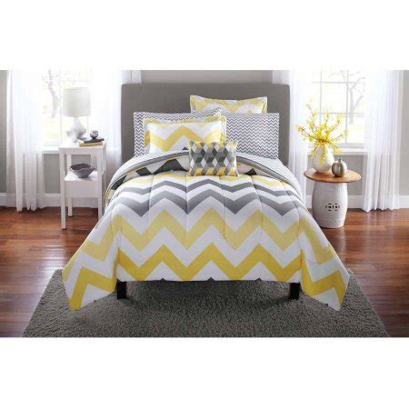 Yellow And Grey Bed Set Mainstays Yellow Grey Chevron Bed In A Bag Bedding Comforter Set Walmart