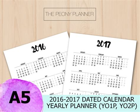 printable calendar inserts 2017 2016 2017 full page calendar a5 printable yearly