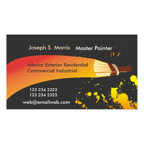 Painter Business Card Template colorful artist house painter artistic brush