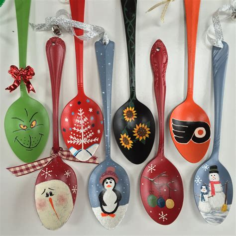 hand painted spoon ornaments by earthysunflower on etsy
