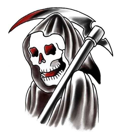 grim reaper traditional tattoo school reaper by tattooryan on deviantart grimreaper