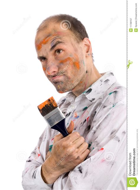 paint man careless young man covered in paint royalty free stock