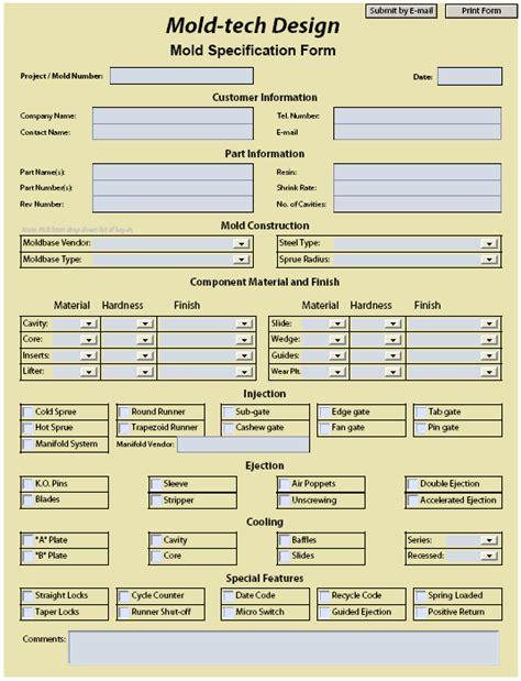 design specification form mold tech design