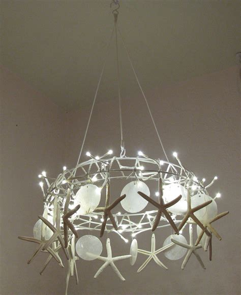 Handcrafted Lighting - handcrafted starfish chandelier tiny white led lights