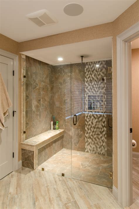 custom bathroom ideas shower ideas large tile shower with custom shower seat
