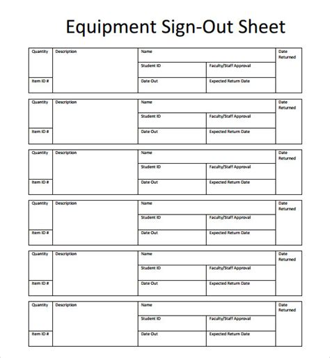 sle sign up sheet template 28 equipment sign out sheet template sle sign out sheet