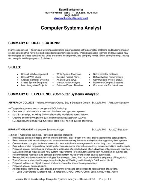 System Analyst Resume by System Analyst Resume Sles Best Resume Gallery