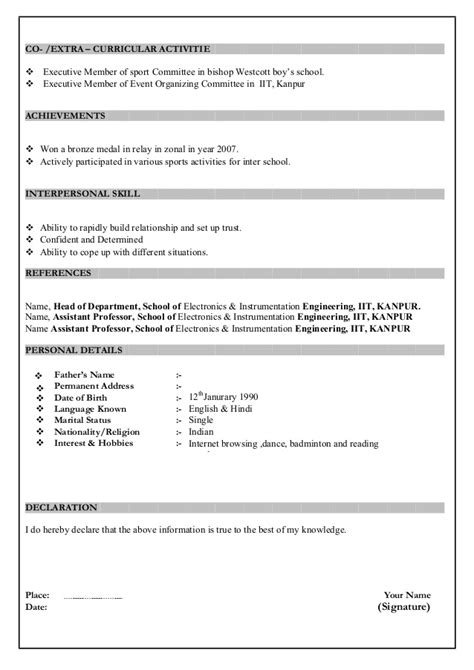 Resume Format For Word 2007 by Resume Format In Ms Word 2007