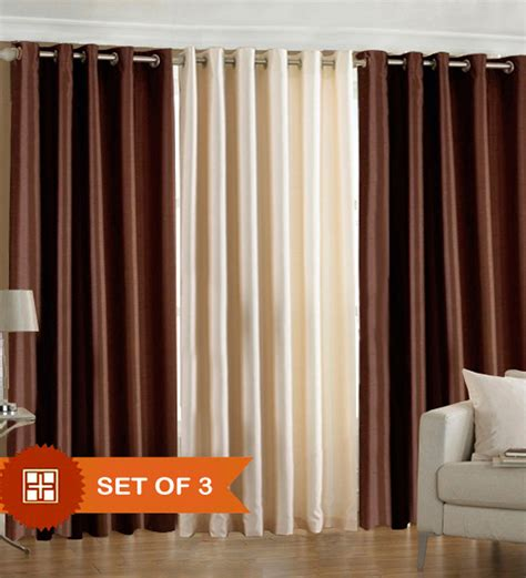 Pindia Brown N Cream Door Curtains Set Of 3 Pcs 7 Ft By