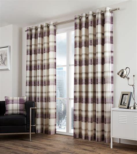 beige tartan curtains plaid check purple beige lined 100 cotton ring top