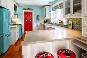 Funky Kitchens Ideas Beautiful Retro Kitchen With Funky Coca Cola Themed Bar Stools Decoist