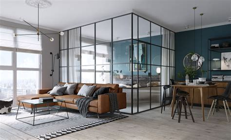 Apartment Interior Small Modern Glass Black Framed Glass Walls Separate The Bedroom In This Kiev