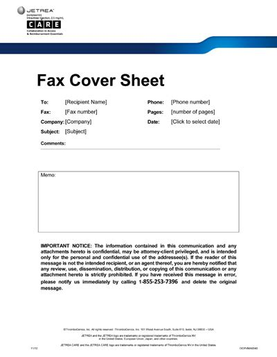 Professional Fax Cover Sheet by Forms And Documentation Jetrea Care