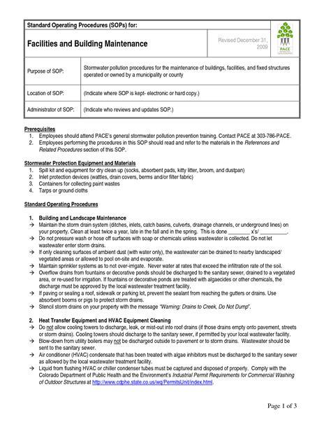 standard operating procedure template sanjonmotel