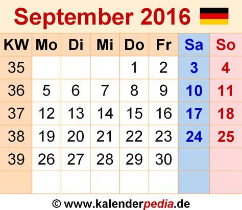 September Kalender 2016 Kalender September 2016 Als Pdf Vorlagen