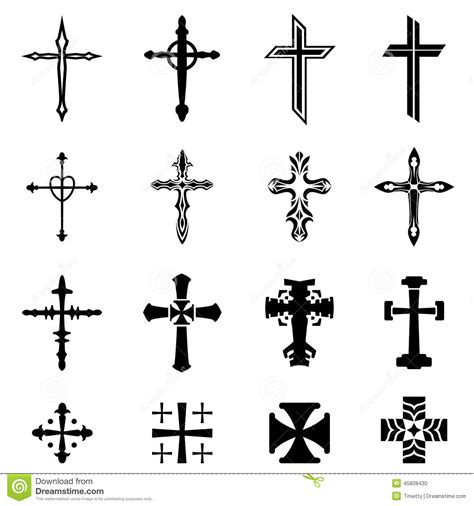 cross icon set stock vector illustration of isolated