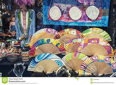 fan craft for souvenir shop in barcelona editorial stock image image