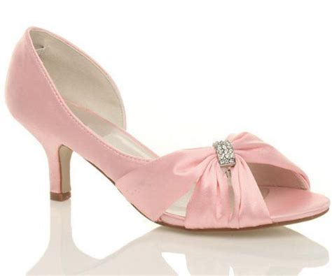 new baby pink satin wedding prom bridesmaid low heel peep