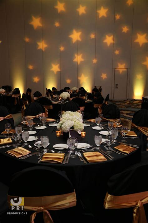 Custom star Gobo lighting projected on a wall during an