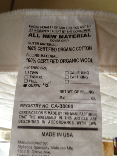 Mattress Tags by Organic Foam Mattress