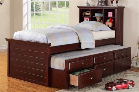 twin sized bed twin size bed multi storage unit cherry finish trundle