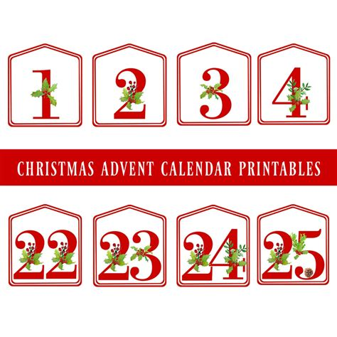 printable large numbers 1 25 diy christmas advent calendar red printable numbers 1 25