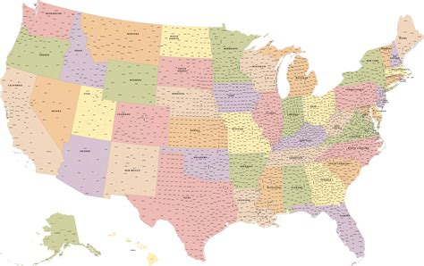map usa vector usa with counties map digital vector creative