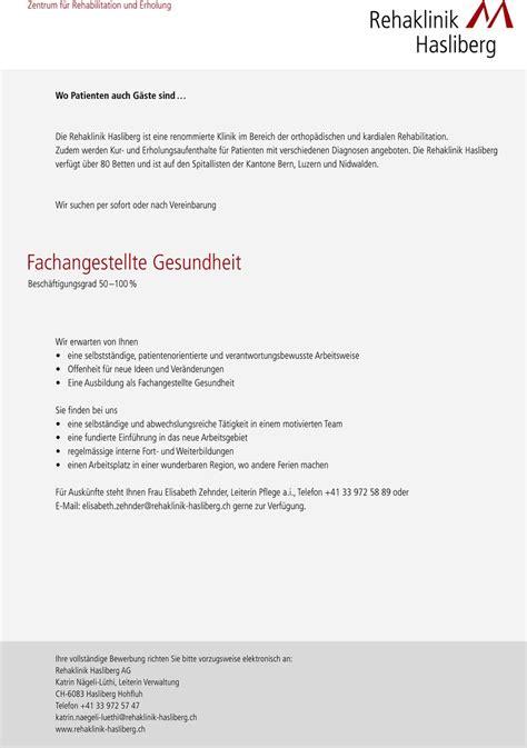 Bewerbung Interne Stellenaubchreibung Krankenhaus Stellenangebot Fachangestellte R Gesundheit In Hasliberg Hohfluh Schweiz