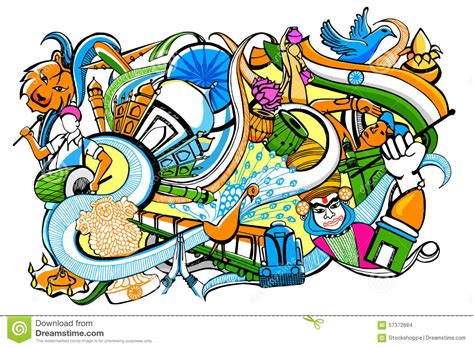 doodle india doodle on india concept stock vector image 57372684