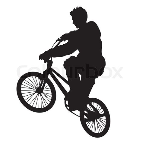 Clip Sepeda Bmx Black bicycle rider vector silhouette isolated on white stock