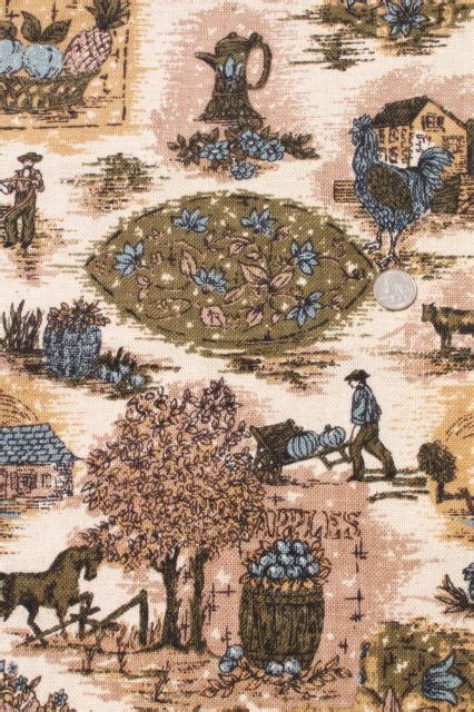 vintage fabric french country scenes toile style print linen weave  blue olive green flax