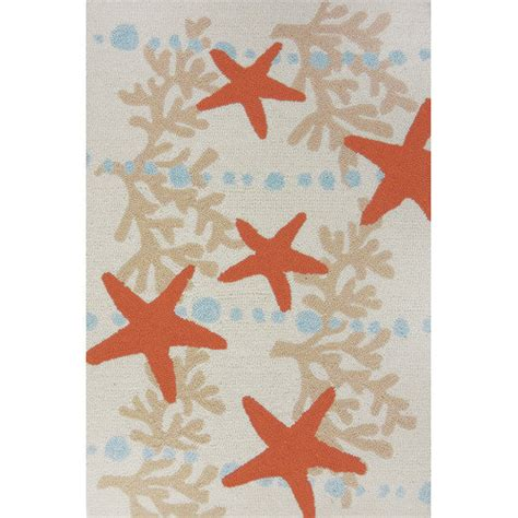 Starfish Outdoor Rug Homefires Underwater Blue Coral And Starfish Indoor Outdoor Rug Walmart