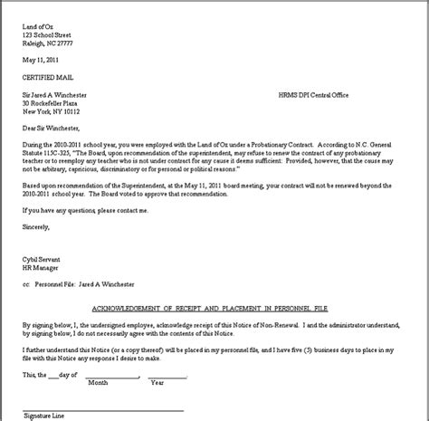 Exle Letter Of Employment Contract Renewal Letter Sle The Best Letter Sle