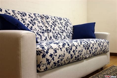 Blue Patterned Sofa by Squared Sofa Bed Upholstered In Microfibre And