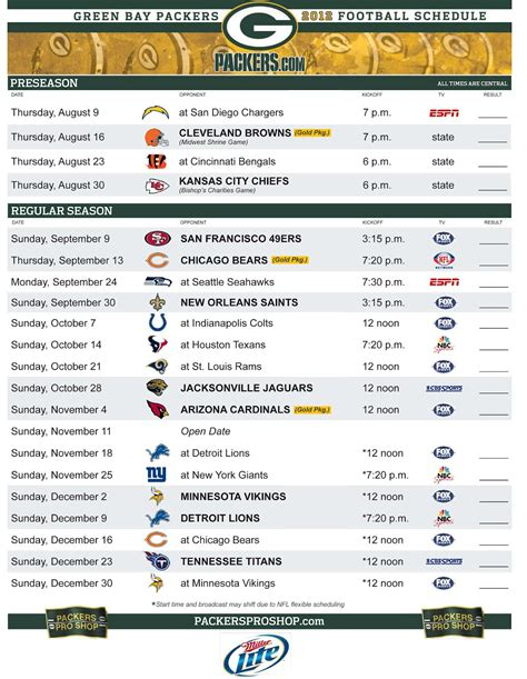 printable schedule for green bay packers packer schedule 2015 printable search results calendar