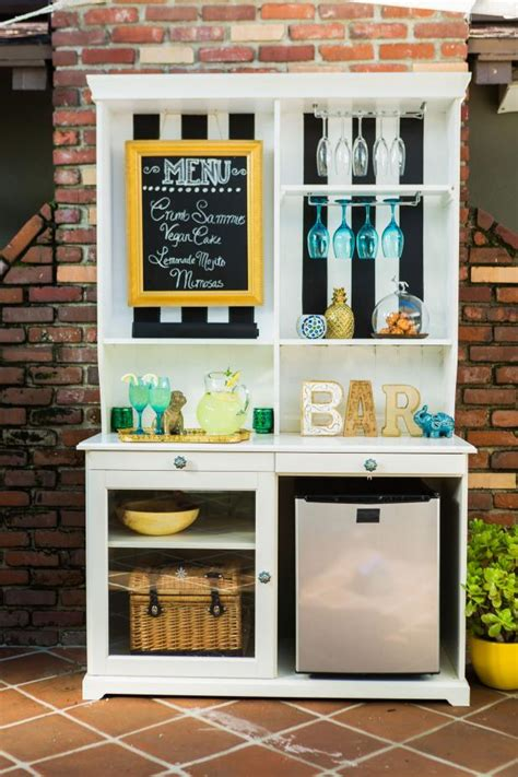 outdoor mini fridge cabinet upcycle a hutch into an outdoor bar and buffet hgtv
