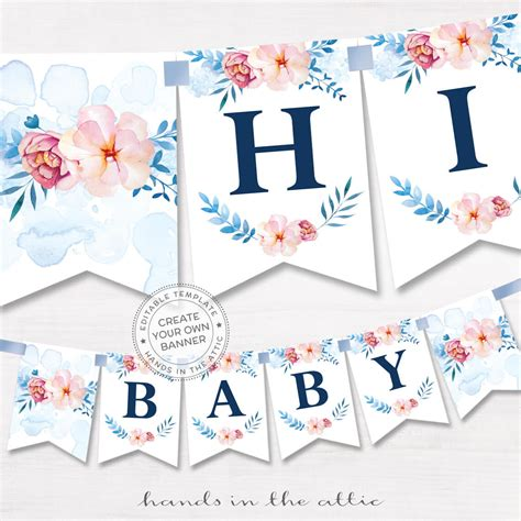 templates for baby shower banners floral alphabet banner diy template printable
