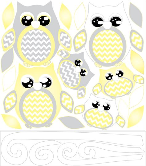 owls nursery decor yellow owl wall decals owl stickers owl nursery wall decor