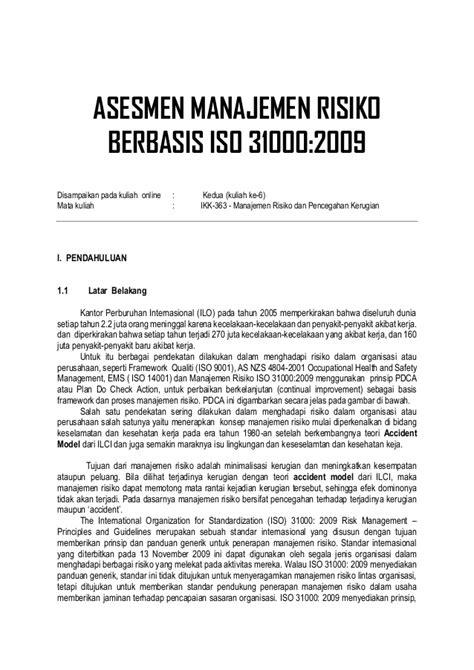 Manajemen Risiko Berbasis Iso 31000 manajemen resiko iso 31000 2009