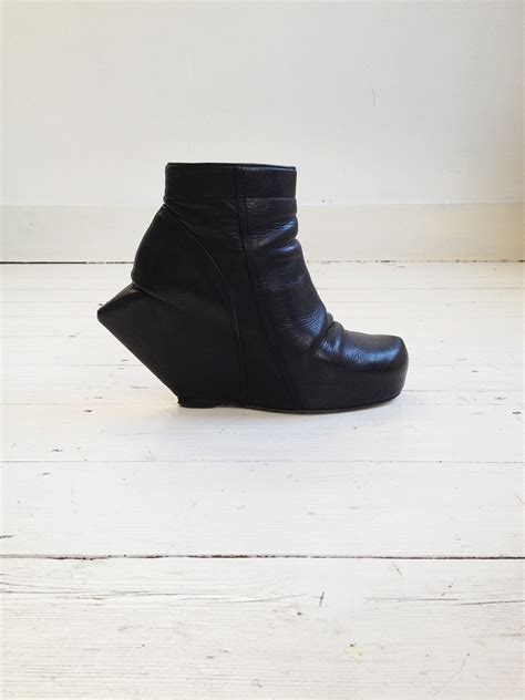 rick owens black turbo ankle boots with peak wedge v a n