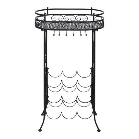 metal wine rack table metal wine rack wine table with hooks for 9 bottles