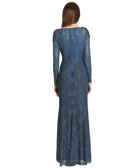 Shoulder Lace Evening Gown marchesa beaded shoulder lace evening gown in blue lyst