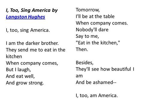too definition of too by the free dictionary a poem to look at i too sing america by langston hughes