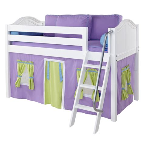 easy rider low loft bed with green and purple tent
