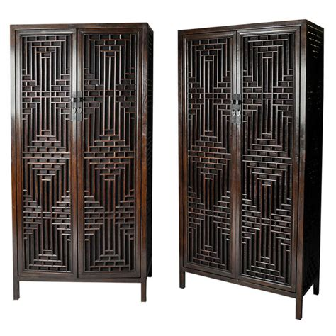 Lattice Cabinet Doors Pair Of 19th Century Cabinets With Lattice Doors At 1stdibs