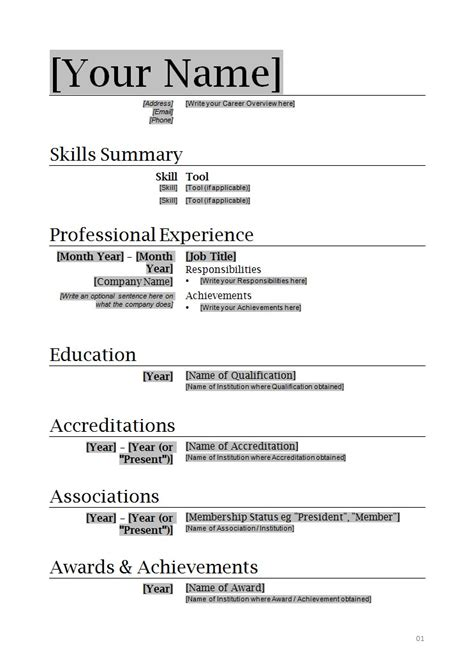 Resume Format For Word by Resume Format Word Learnhowtoloseweight Net