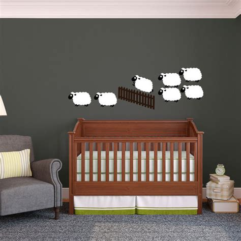 sheep wall stickers flock of sheep jumping a fence counting sheep wall decal